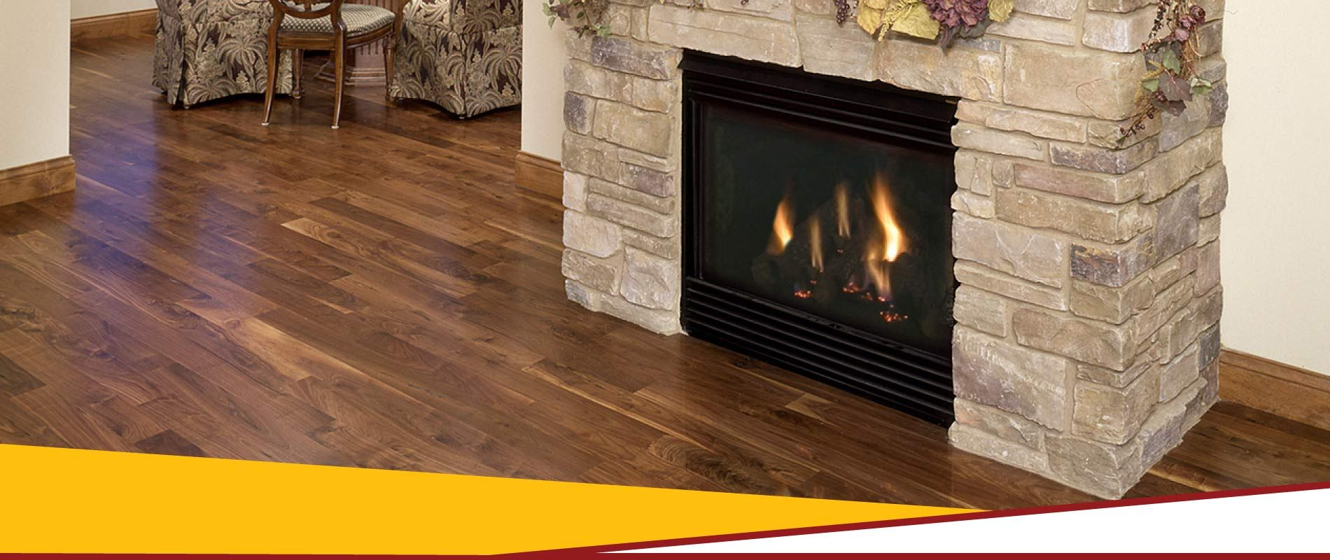 Hardwood floor with fireplace